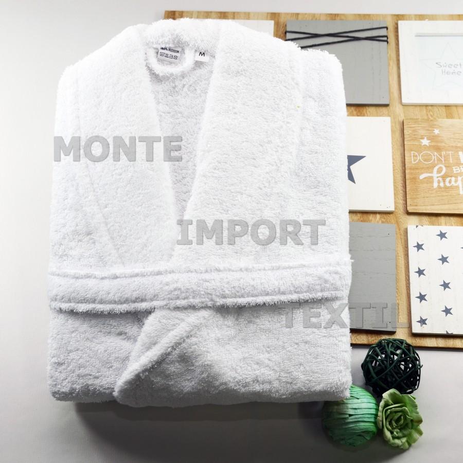 albornoz 100 por cien algodon puro de rizo americano cuello smoking cinturon y doble bolsillo de 400 gramos m2