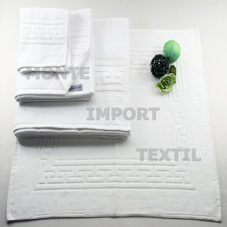 1 toalla con greca 100 por 100 algodon puro de 450 gramos rizo convencional