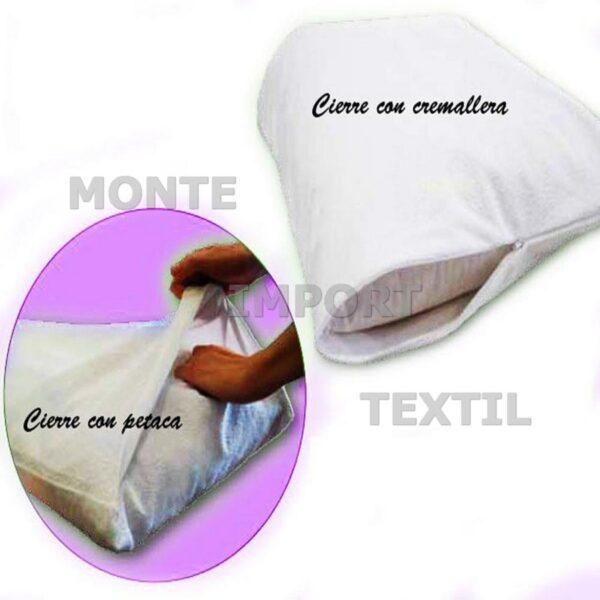 funda interior de almohada blanca de rizo pvc sanitario impermeable con cremallera blanca