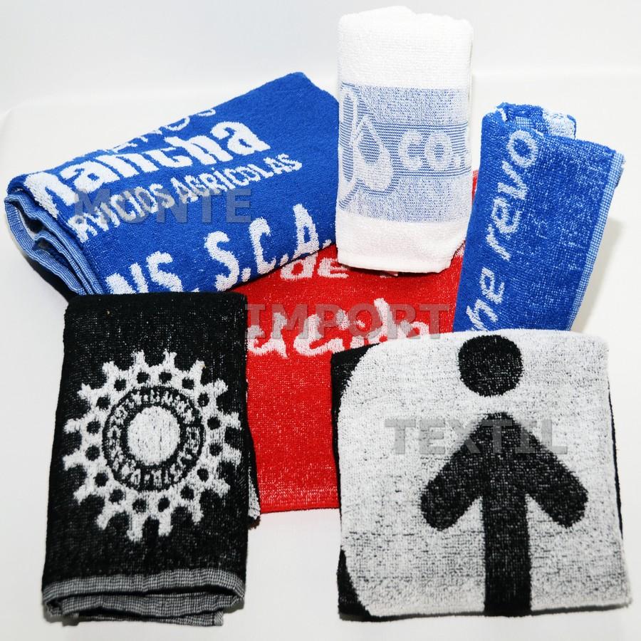 toallas de rizo convencional con logo en bicolor de algodon reprocesado en cualquier medida